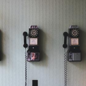 Vintage telephones on the wall